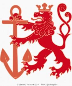 Vektorillustration: Der Bergische Löwe, Wappentier