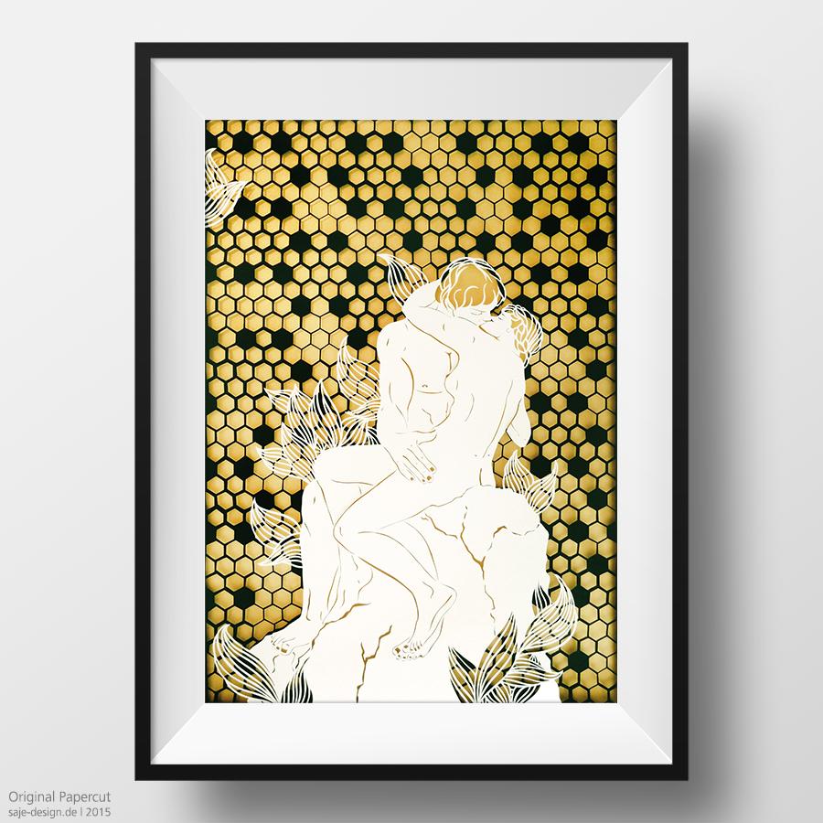 Scherenschnitt: Der Kuss nach Rodin