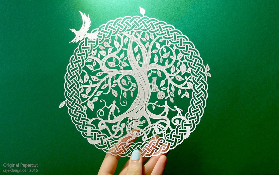 Scherenschnitt: Yggdrasil, der Weltenbaum