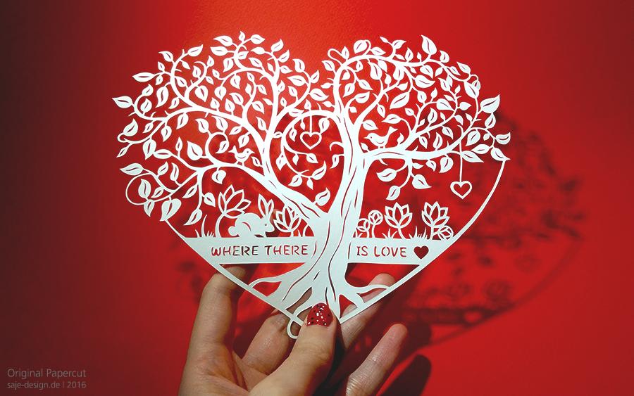 Scherenschnitt: Tree of Hearts