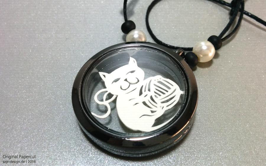 Scherenschnitt: Kätzchen im Medaillon