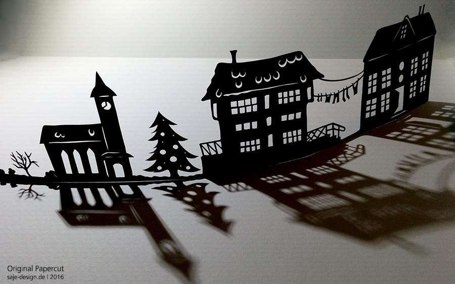 Scherenschnitt Silhouette Weihnachtsstadt